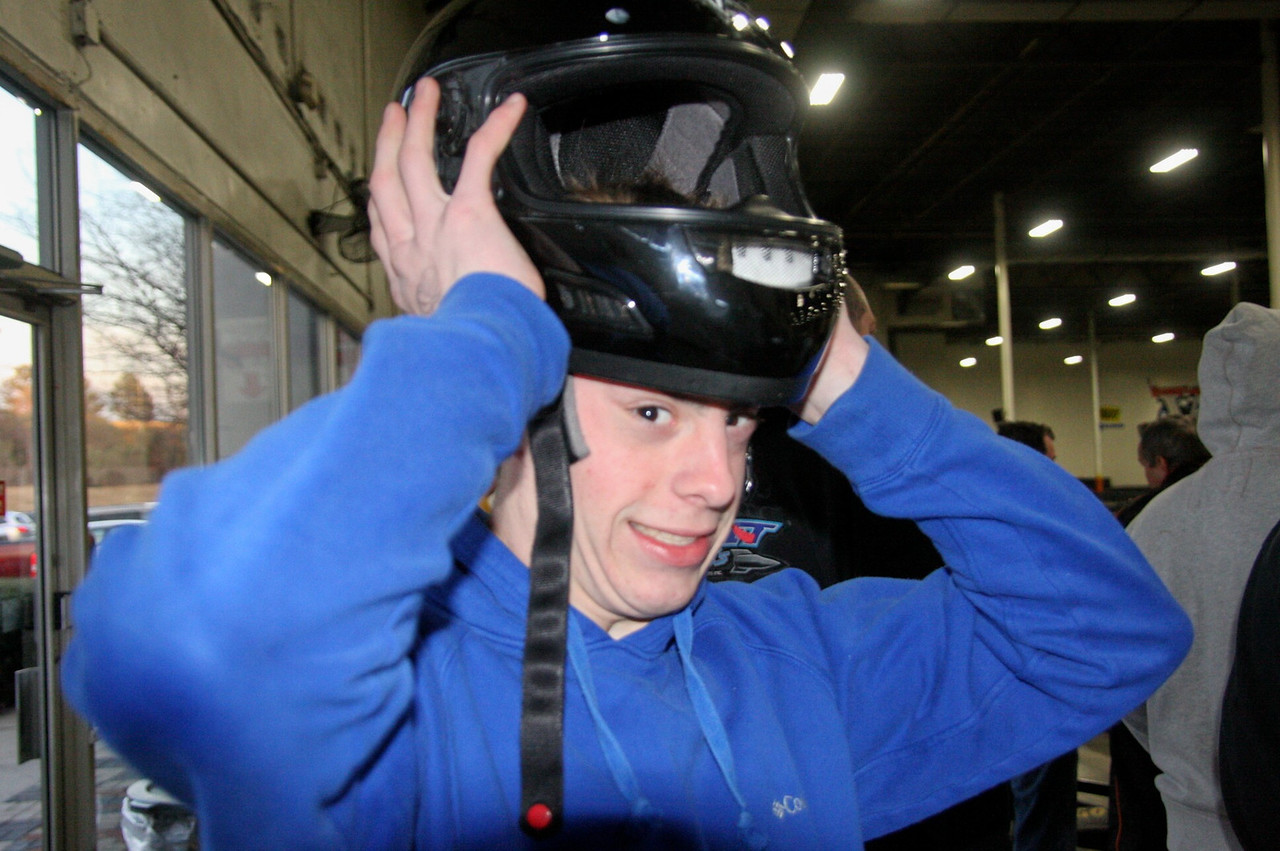 Since Josh Langley won that race last year, he can't find a helmet that'll fit.