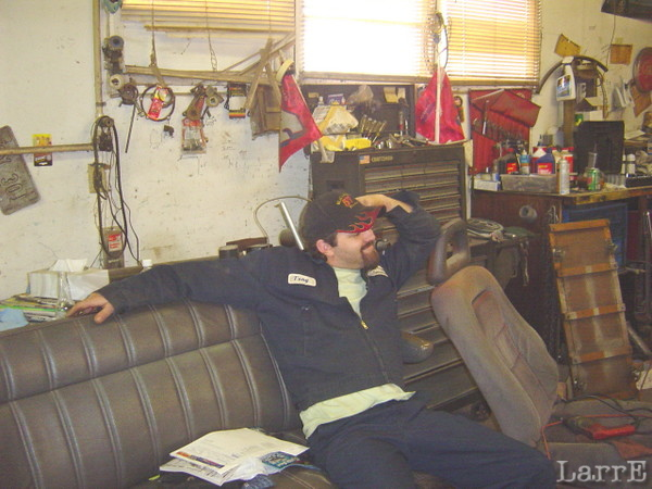 Tony rests at the race shop