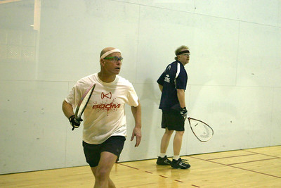Steve Deaton keeping his eyes on the ball as he gets ready to shoot in his men's 50+ quarter final match against Jim Hage, Jim won the match 15-9, 15-7 and went on to win the division.