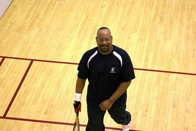 Corey Rogers vs Denny Wood Men's C 1st round, Corey won 15-11, 15-8..