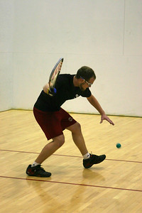 Joel Lawrence serving to Warren Bailey in their Men's Open 1st round match, Joel won the match 15-11, 10-15, 11-7.