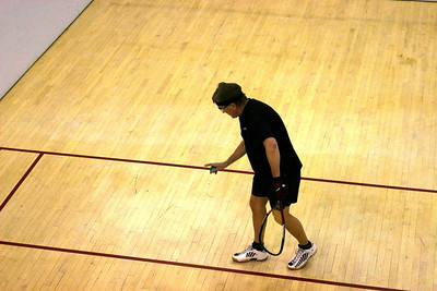 Jeff Sandys serving the ball in his Men's 40+ Match.