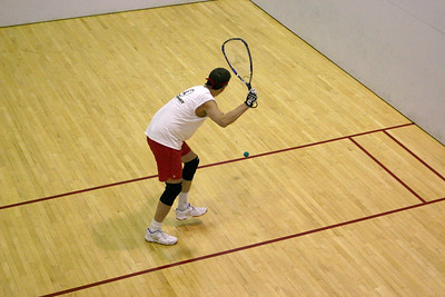 Dan Anderson came down from Fairbanks for the tournament, Here Dan is serving to Christer Linden in their Men's 50+ quarter final match.