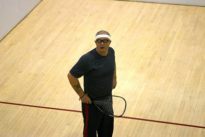 Warren Bailey gets ready to serve to Jay Wisthoff in the Men's 50+.