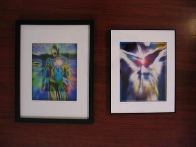 Alien Peacock and Wings of Desire, framed. Radiant Beings by Brian Shepp