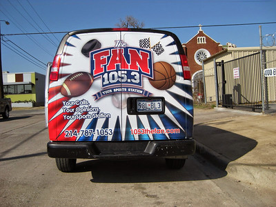 Vehicle wrap for 105.3 The Fan in Dallas, TX.www.skinzwraps.com