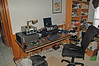 My temporary shack location. FT1000MP, Acom 2000A, IBM PII Laptop.