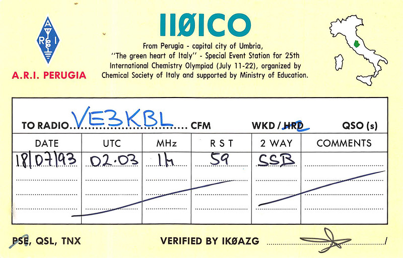 QSL card VE3KBL Moosonee with II0CO Perugia Umbria Italy - XXV International Cemistry Olympiad special events station - back with details of contact 14M 1993 July 18 UTC 0203