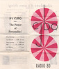 """Radio station CJBQ hit list for week of ( 1969 ) May 3. Cover. """"It's CJBQ with the power of personality!"""". Daytime radio schedule: Tom Hookings, Lee Jourard, Dick Lovering, Art Watkins, Neil Kirby. Folded"""