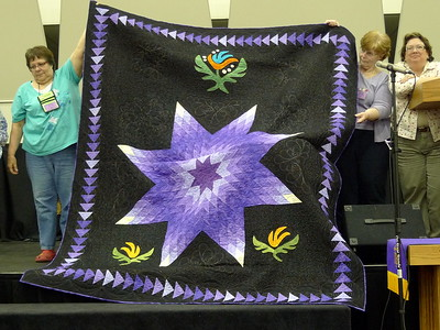 The raffle quilt for for 2011 - Dan Burke had pieced the Lone Star and The Rejects did the applique and finished the top.  Quilting by Kari Ruedisale-Smith.  Yea Team!!  They worked very hard to get it finished so it could be displayed and tickets sold at the LAP Quilt Show but the Lottery had not yet returned the license for the raffle.  Thanks for the effort Ladies and Gent.