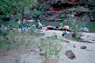 """Landing at our first """"on the river"""" campsite."""