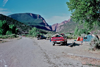 View of the camp the next morning. Also looking down river where the canyon starts to close in around the Green River.