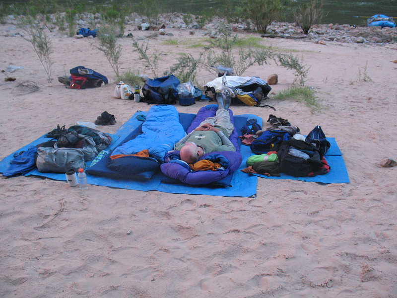 """Joe and almost everyone took a nap at Tuckup camp at river mile 165.  A better name for the camp might be """"Tuckered Out"""".  We Coveneys almost never set up a tent.  This was our typical camp setup."""