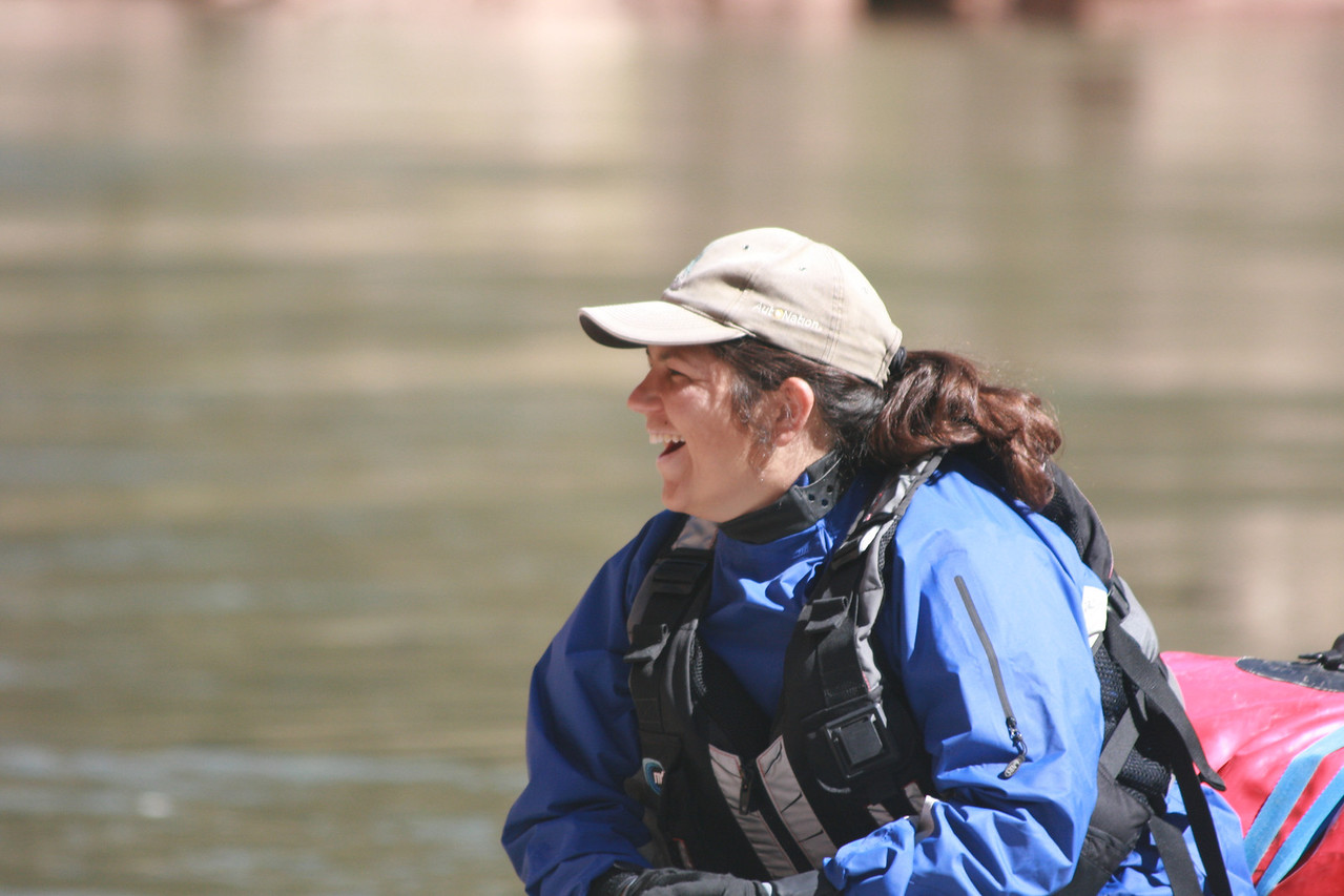 Clearly having a blast, rafting her first Canyon trip!