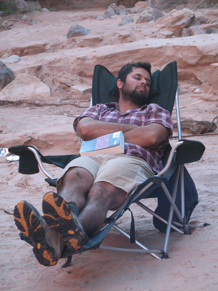 Jose caught in the act napping in Joe Palen's chair at Tuckup camp.  There's something about this chair that promotes sleep!