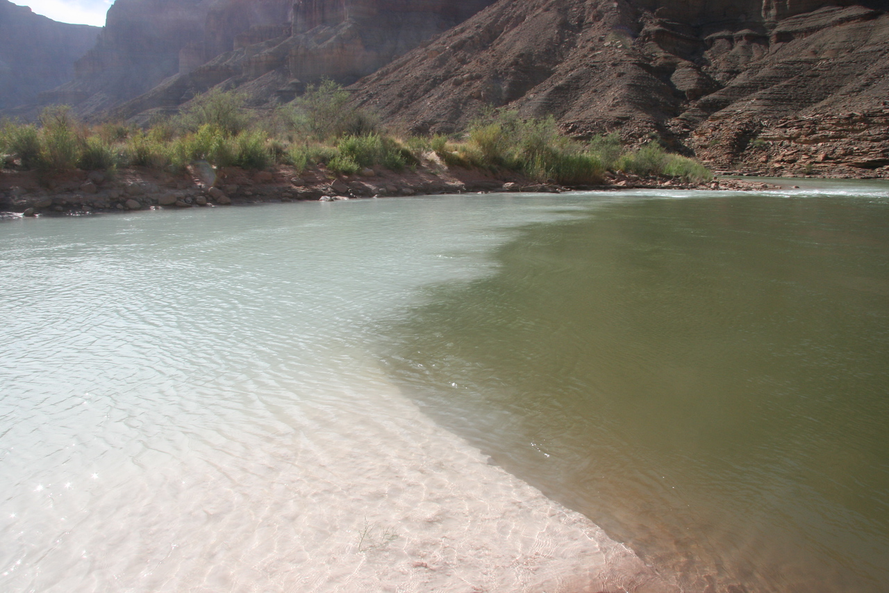 Confluence of the Little Colorado River and the Colorado River.  The LCR has very milky water.