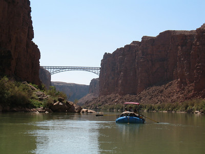Approaching the Navajo Bridge on the day we launched.  2012-09-30.  River mile 4.5.