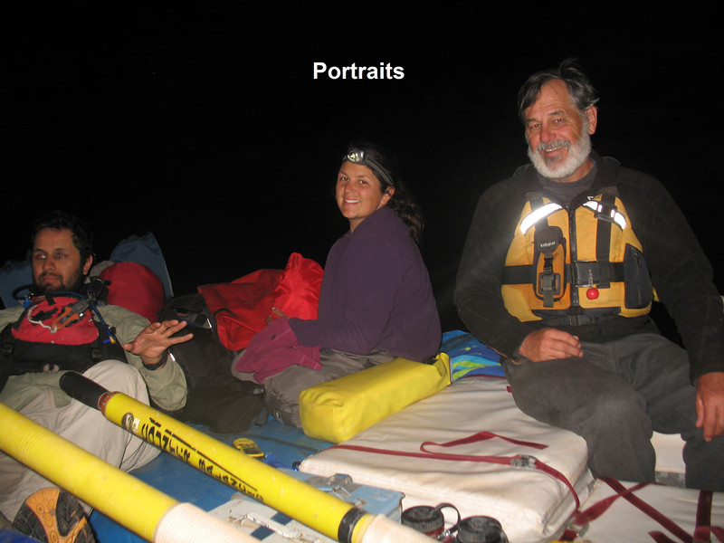 """We did a Night Float this time:  The last 40 miles are flat water.  So instead of spending two days rowing endlessly, we lashed all the boats together into one big barge.  We re-rigged everything so each boat had 2 or more """"sleeping pads"""" on them.  We organized shifts, so 2 people (one at each end of the barge) were on shift for 2 hours, and kept us from hitting canyon walls, going over rocks or shrubbery in the river, or spinning endlessly in the eddies.  Here we see Jose, Piper and Roger during the Night Float."""