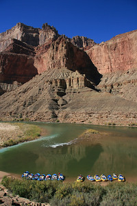 Our boats are on the right.   The Little Colorado River (LCR) meets the Colorado River here.  This is a popular place to stop and hike up the LCR.