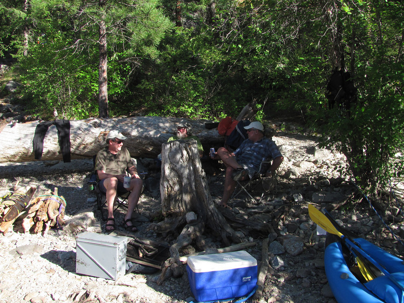 Bob, Art and Phil hanging out in the shade, a popular pastime upon arrival at camp