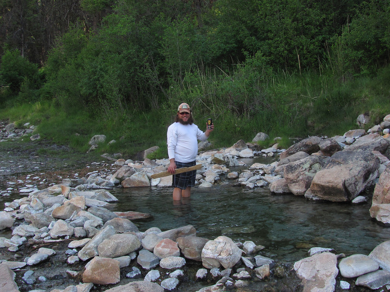 John at Sheepeater's Hot Spring at our first camp. Water was too hot for most of us.