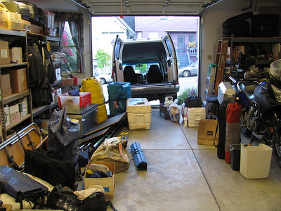 Loading the van is an art.  Notice everything in the garage.