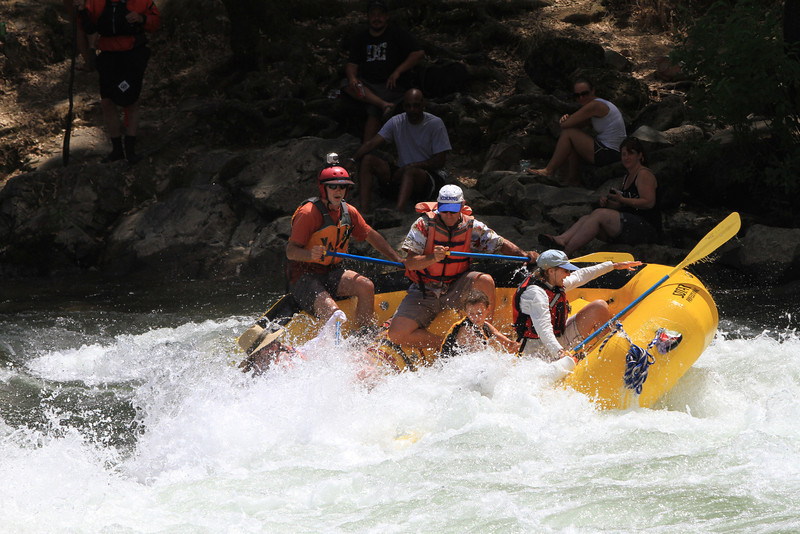 Joe's boat runs Trouble Maker rapid on Sunday. This was Liza's first whitewater rafting trip. Crew was Joe, Sherry, Maria, Jay, Brian and of course Liza.  Brian and Maria might wish they had been in Roger's raft.