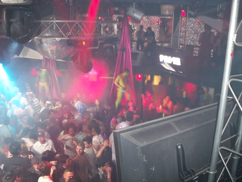 Above the dance floor at Rage at the Grand Opening of FAME.