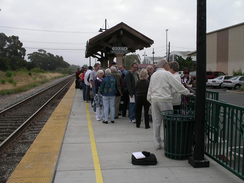 Waiting at the Goleta Amtrak station.