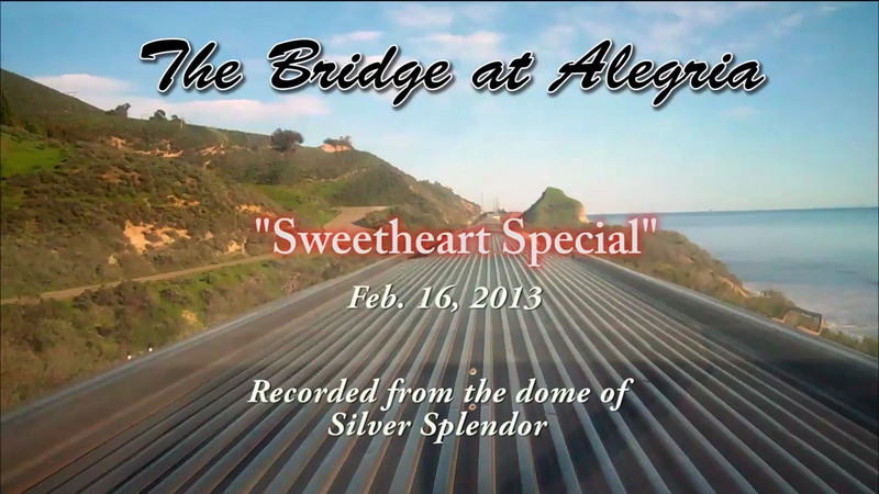 """Alegria Canyon Bridge to Gaviota. Filmed aboard the Vista Dome car, Silver Splendor, on the occasion of the South Coast Railroad Museum's """"Sweetheart Special"""" vintage railcar excursion on Feb. 16, 2013."""