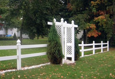 2 Rail Fence with Riviera Arbor with Straight Top