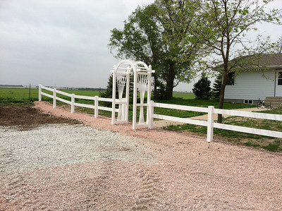 White Two Rail Fence with Caprice Arched Arbor