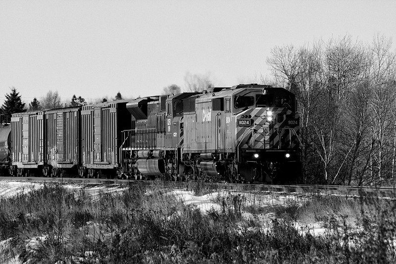 CP 9024 with CEFX 109 heading east at Barclay Ontario. I took this photo with a Canon 40D just before I took the photo next to this one (in this gallery). I ran the photo through Photoshop CS4 and used the Silver Efex Pro plugin to get the effect you see here.<br /> <br /> The next photo in the gallery was taken just seconds after this photo but I used a film camera loaded with black and white film.