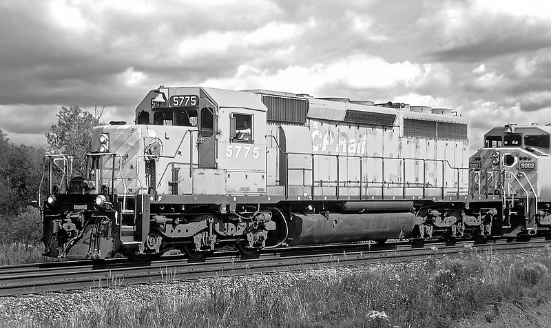 SD-40-2 5775, and SD-40-2F 9002 at Barclay, Ontario.<br /> <br /> Some digital manipulation to get a black and white feel. Photo was not just desaturated.