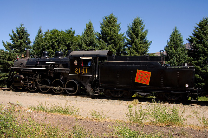 Ex CN Rail M-3-d engine 2141 gets ready to begin its next trip from Pioneer Park, Kamloops BC.