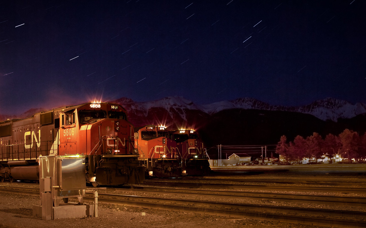 Star Trails at the Jasper yard April 2012
