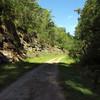 Railroad cut at the east portal of North Bend Rail Trail Tunnel #19 - Silver Run Tunnel.