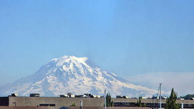 Portland, Oregon and Amtrak Cascades to Seattle, WA - Mt. Raineer from train window