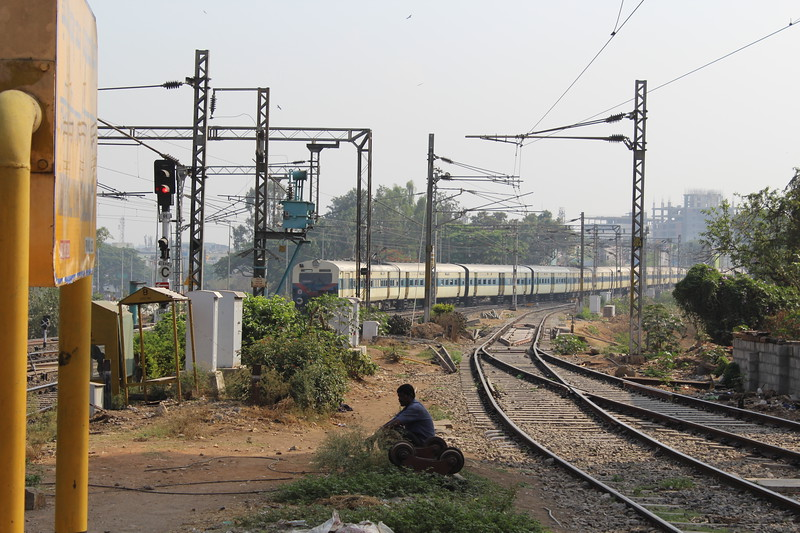 Indian Railways MEMU approaching Bengaluru City KSR Station [SBC].