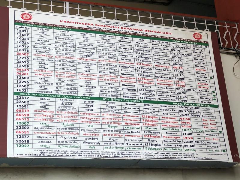 Indian Railways Bengaluru City KSR Station Timetable [SBC]