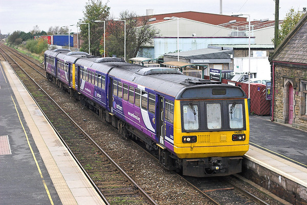 142011 and 142004, Burscough Bridge 31/10/2011 2A08 1020 Southport-Manchester Victoria