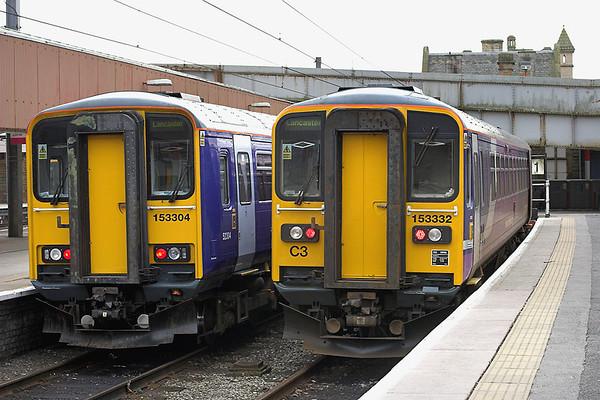 153304 and 153332, Lancaster 31/1/2009 153304: 2C43 1422 Lancaster-Carlisle 153332: 2C77 1324 Lancaster-Morecambe