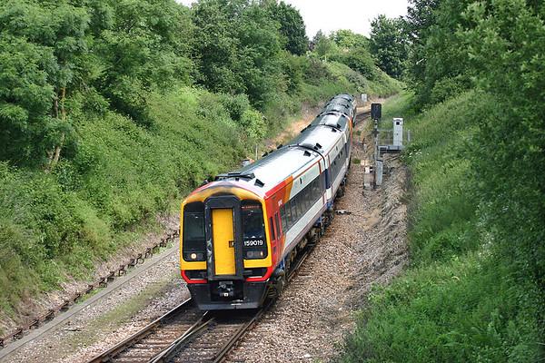159019 and 159018, Honiton 21/6/2005 1L21 0920 London Waterloo-Plymouth