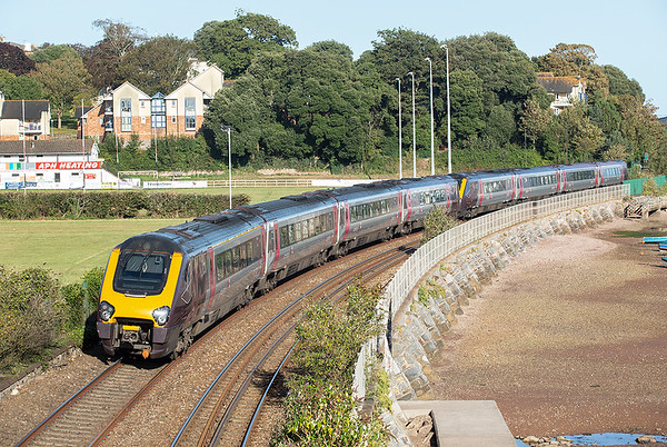 220005 and 221136, Teignmouth 18/9/2019 1E67 1625 Plymouth-Leeds