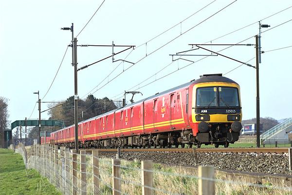325015, 325002 and 325001, Brock 26/3/2007 1M44 1531 Shieldmuir-Warrington RMT