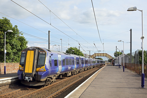380003 and 380113, Prestwick Town 30/6/2014 1K47 1728 Glasgow Central-Ayr