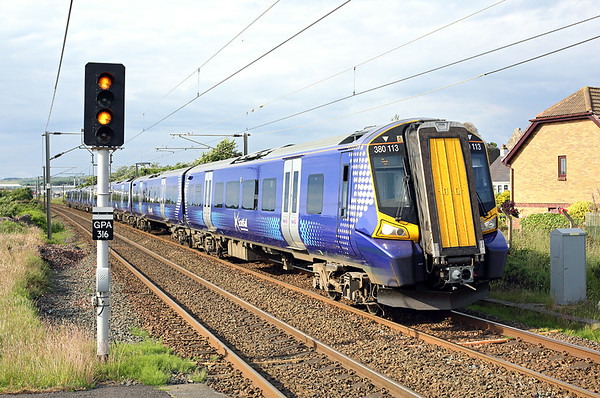 380113 and 380003, Prestwick Town 30/6/2014 1K47 1728 Glasgow Central-Ayr