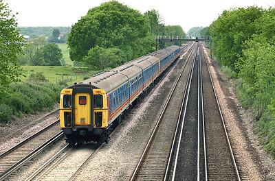 1398, 3536 and 1396, Potbridge 26/5/2005 1W31 1135 London Waterloo-Bournemouth