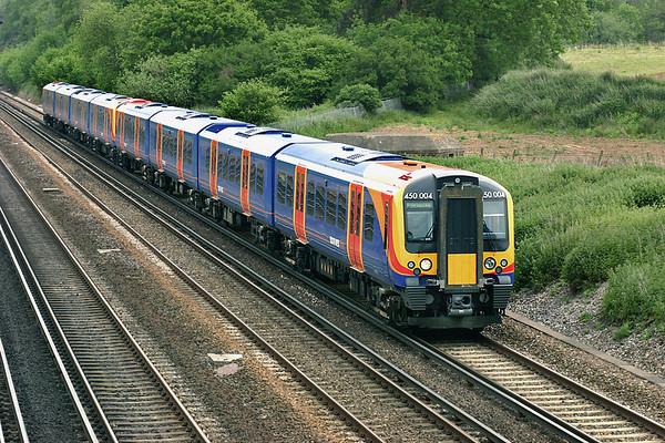 450004 and 450018, Potbridge 26/5/2005 2L29 1112 London Waterloo-Basingstoke
