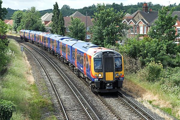 450551 and 450092, Egham 19/6/2008 2S28 1033 Weybridge-London Waterloo